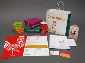 Carry-out packaging, menu, stationary, beans and rice mix