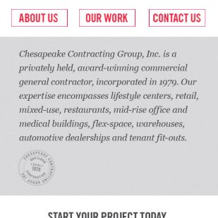 Home Page mock-up of Chesapeake Contracting Group's mobile site.