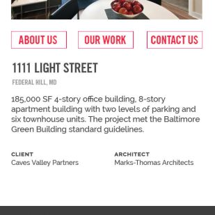 """Our Work"" interior page mock-up of Chesapeake Contracting Group's mobile site."